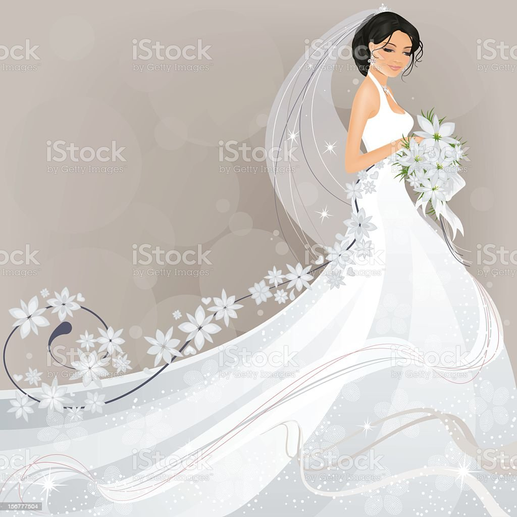 Bride with Flower Design royalty-free bride with flower design stock vector art & more images of adult