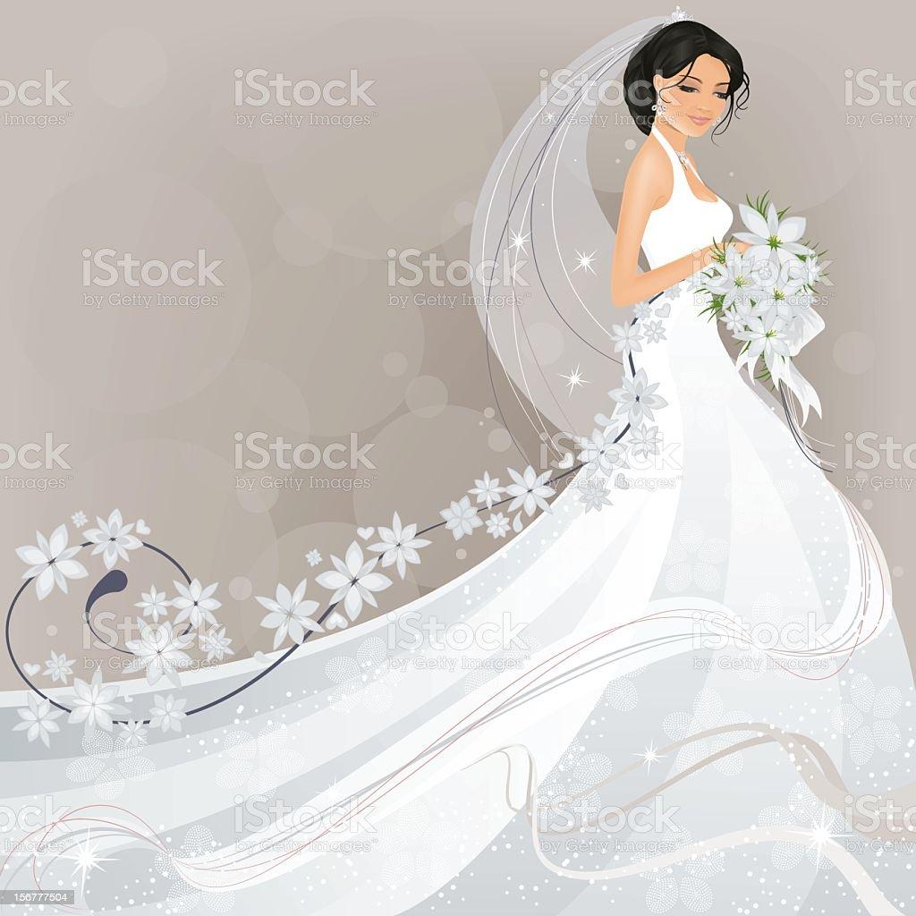 Bride with Flower Design vector art illustration