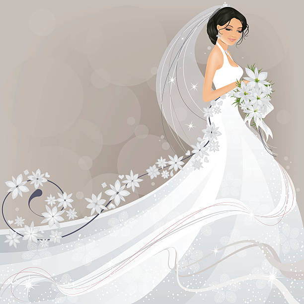 stockillustraties, clipart, cartoons en iconen met bride with flower design - bruid