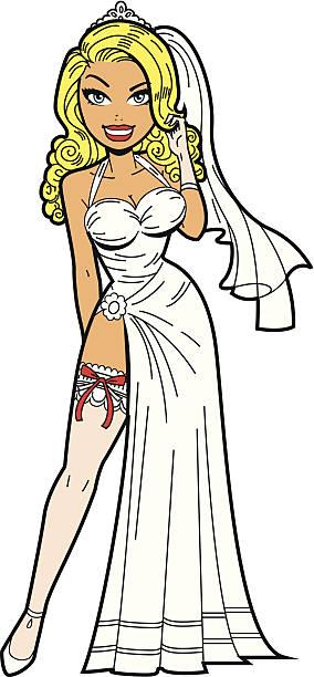 Bride With Garter vector art illustration