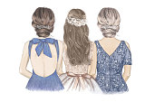 Bride with her Sister and Mom side by side. Hand drawn illustration.