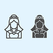 Bride with veil line and solid icon. Silhouette of beautiful woman in elegant dress. Wedding asset vector design concept, outline style pictogram on white background, use for web and app. Eps 10