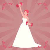 Bride Working Out with Dumbbells
