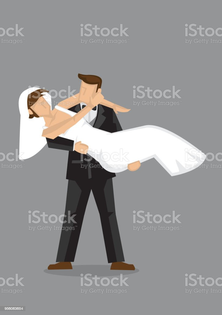 Bridegroom Bridal Carry Bride Vector Character Illustration Stock
