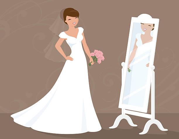 bride's großen tag - rosenhochzeitskleider stock-grafiken, -clipart, -cartoons und -symbole