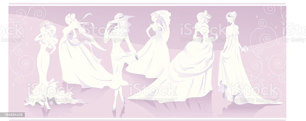 Brides figures and silouettes vector art illustration