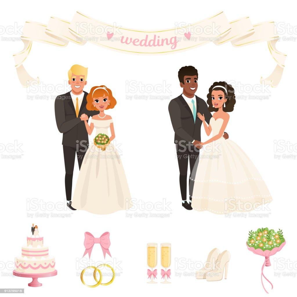 Braute In Uppigen Weissen Kleidern Brautigam Im Klassischen Schwarzen
