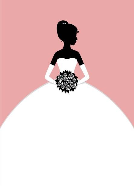 braut-silhouette - rosenhochzeitskleider stock-grafiken, -clipart, -cartoons und -symbole