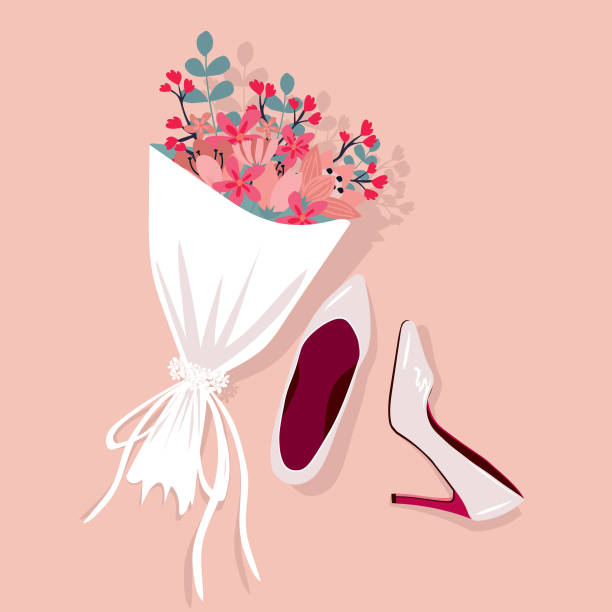 brides wedding shoes with a bouquet, vector illustration. - wysokie obcasy stock illustrations