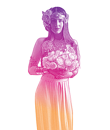 Bridesmaid holding bouquet of peonies