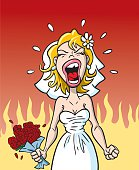 Great illustration of an angry bride upset at her wedding. Perfect for use in a wedding or lifestyle illustration. File is layered for easy editing. EPS and JPEG files included. Be sure to view my other illustrations, thanks!