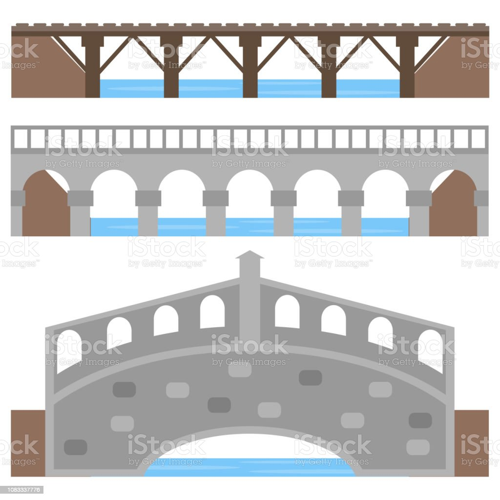 Bridge, a collection of diverse bridges over the river. Cartoon illustration of a bridge.