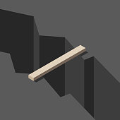 Isometric wooden plank bridge above large dark deep rift. Solution, gap, communication, risk and challenge concept. Flat design. Vector illustration, no transparency, no gradients