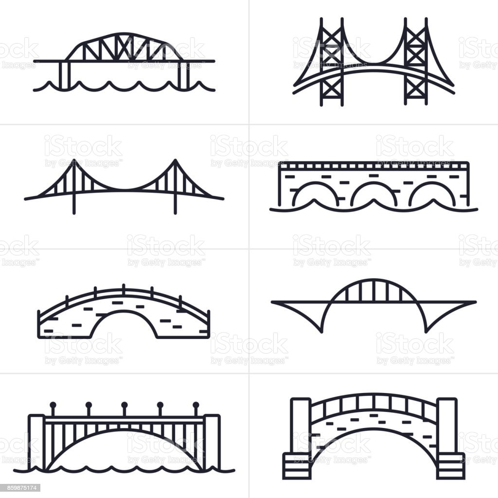 Bridge and Arch Icons and Symbols vector art illustration