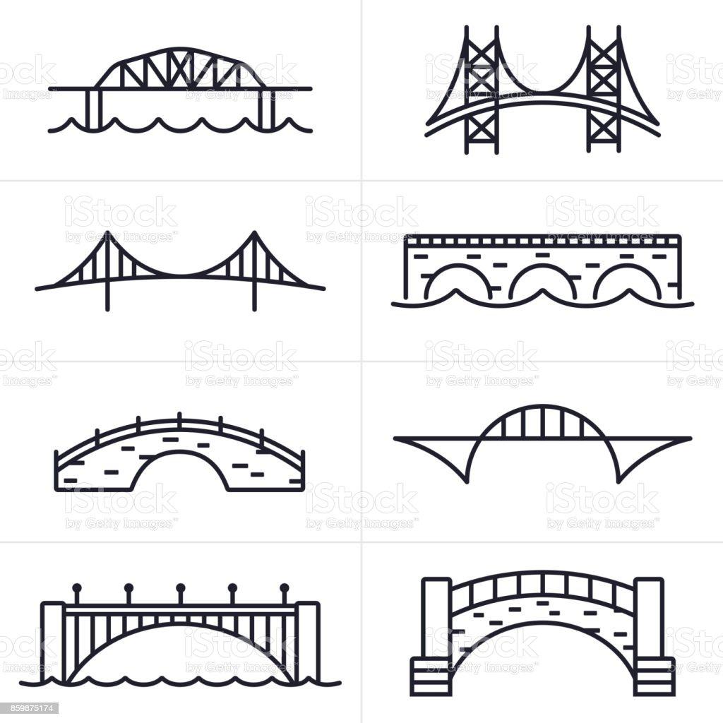 Ponte e arco de ícones e símbolos - ilustração de arte em vetor