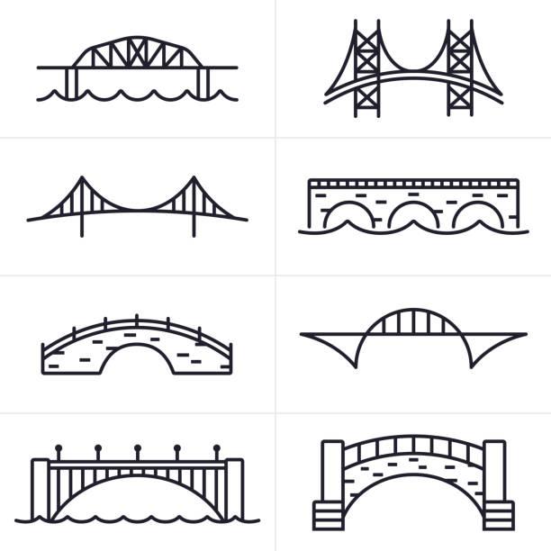 bridge and arch icons and symbols - bridge stock illustrations