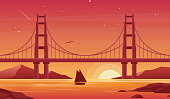 Bridge and boat at sunset flat vector illustration. Beautiful San Francisco landscape, pleasure boat with Golden Gate bridge on background. Sailboat silhouette at dusk. Picturesque evening view