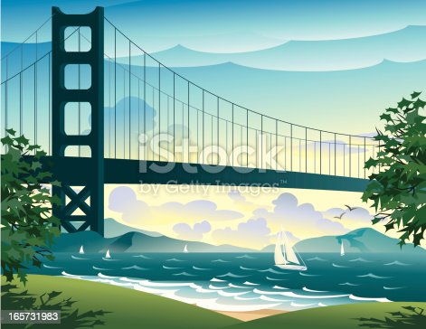 Bridge, sailboats, park with trees.