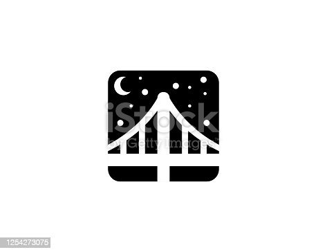Bridge At Night Vector. Isolated Night City View Illustration