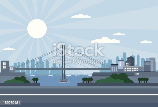 istock Bridge city - daylight, with skyscrapers, sea 165960481