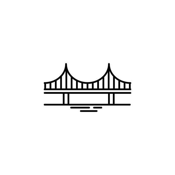 bridge icon. element of landscape icon for mobile concept and web apps. thin line bridge icon can be used for web and mobile - bridge stock illustrations