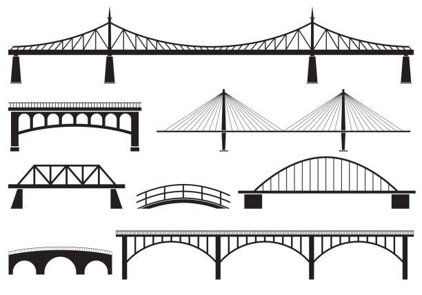 브리지 아이콘 세트입니다. 다른 다리 실루엣. 벡터 그림입니다. - bridge stock illustrations