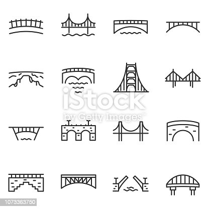 Bridge, icon set. Various bridges. Line with editable stroke