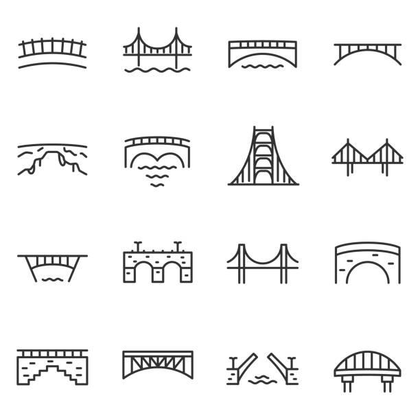 다리, 아이콘 집합입니다. 다양 한 교량, 선형 아이콘입니다. 편집 가능한 획 선 - bridge stock illustrations
