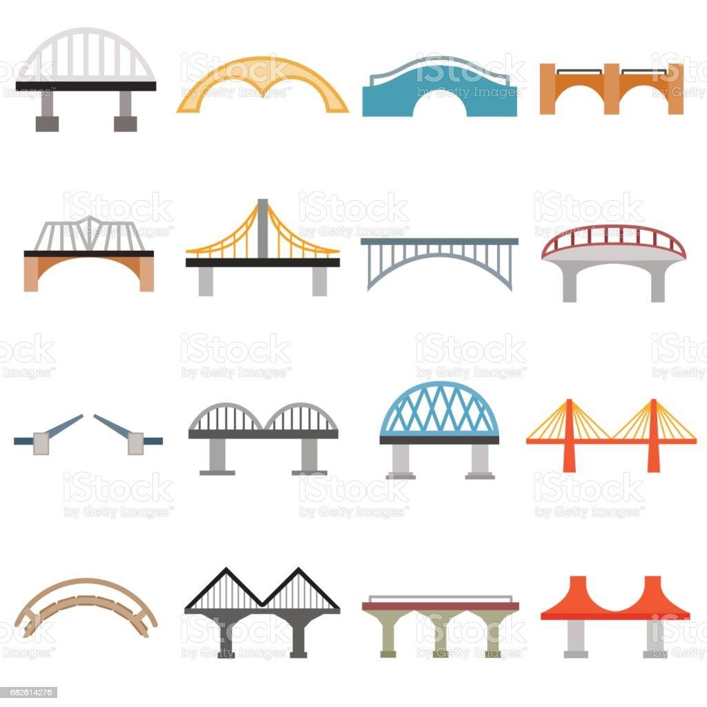 Bridge icons set, flat style vector art illustration