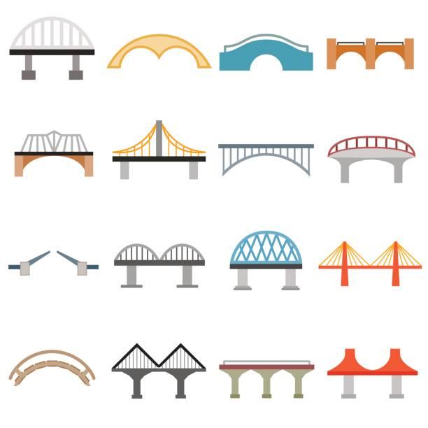 bridge icons set, flat style - bridge stock illustrations