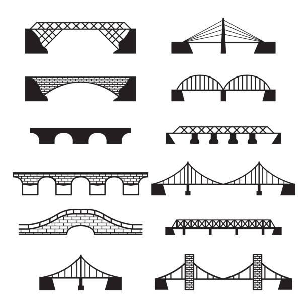 Bridge icons set. Vector bridges set. Bridge icons set. Vector bridges set. eps10. railway bridge stock illustrations