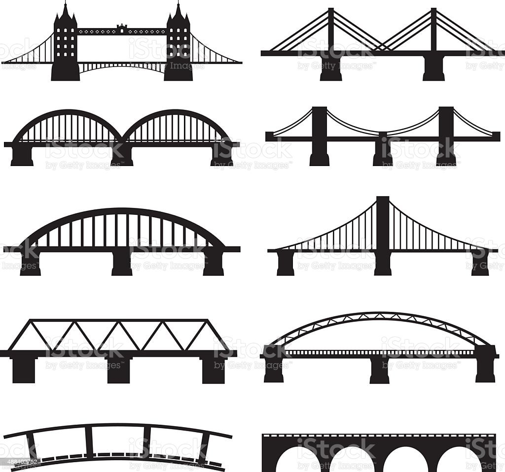 Bridge Icons vector art illustration