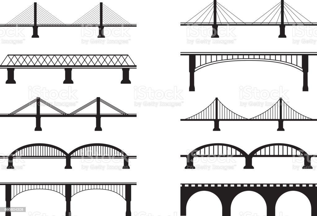 Bridge Icons vector art illustration