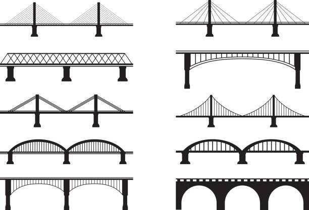 Bridge Icons Simple Bridge Vector Icons  railway bridge stock illustrations