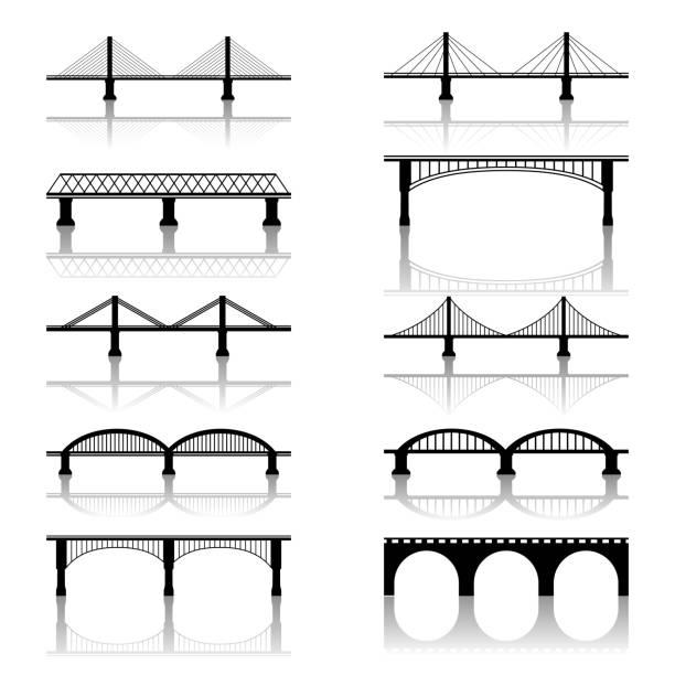 구름다리 아이콘 - bridge stock illustrations