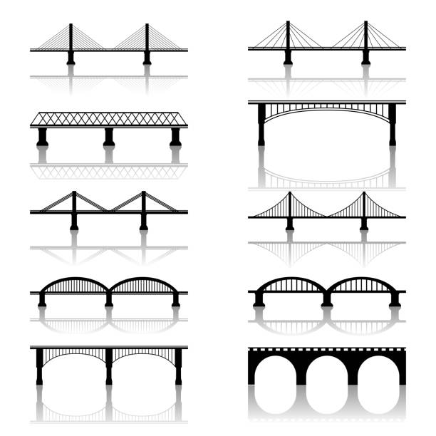 bridge icons - bridge stock illustrations