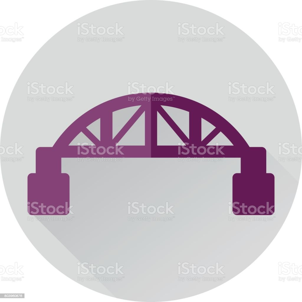 bridge landmark flat icon with long shadow