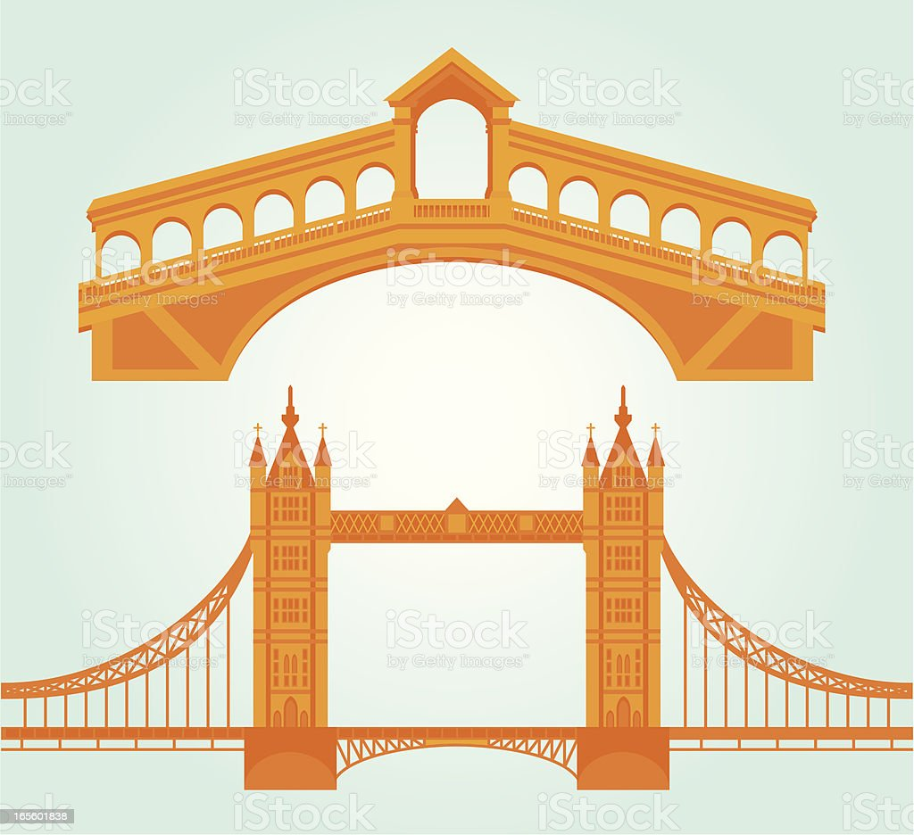 Bridge Landmark Icons vector art illustration