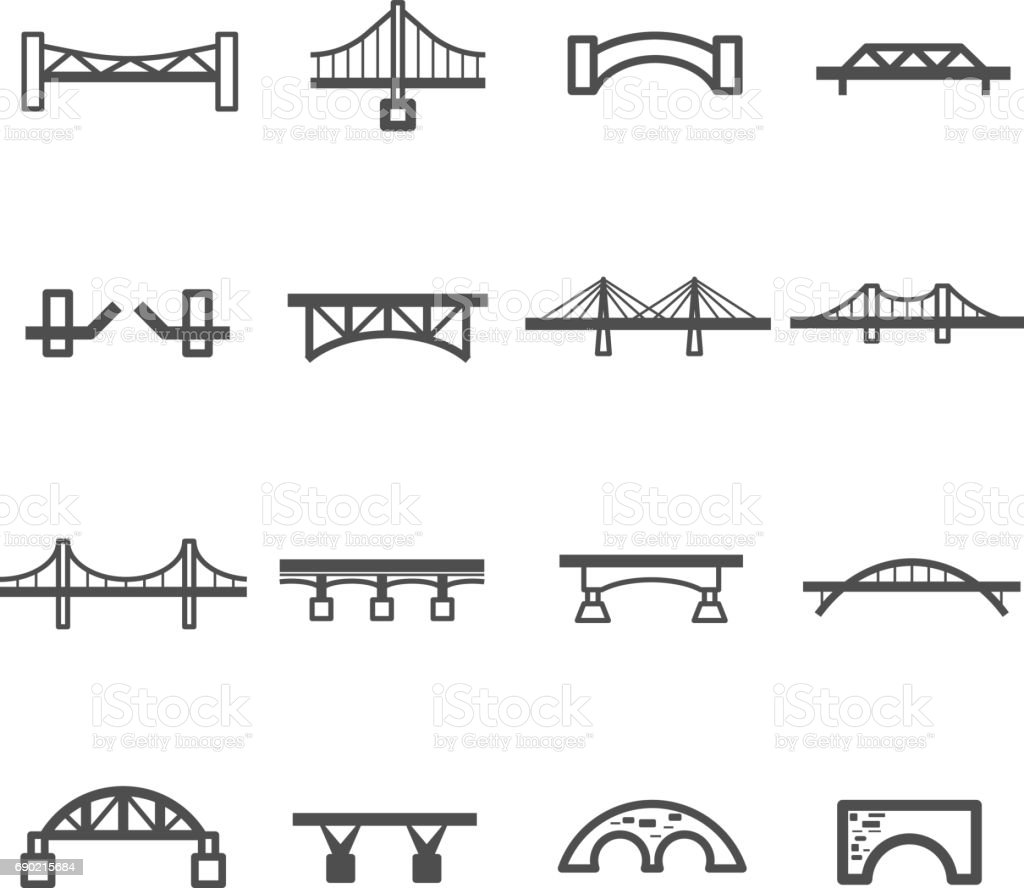 bridge line icon set vector vector art illustration