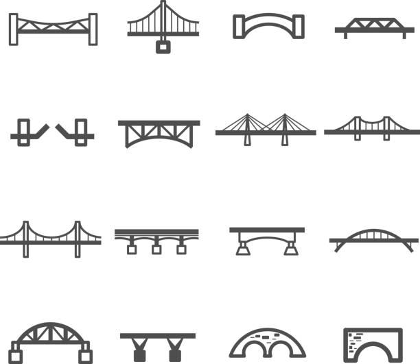 bridge line icon set vector - bridge stock illustrations