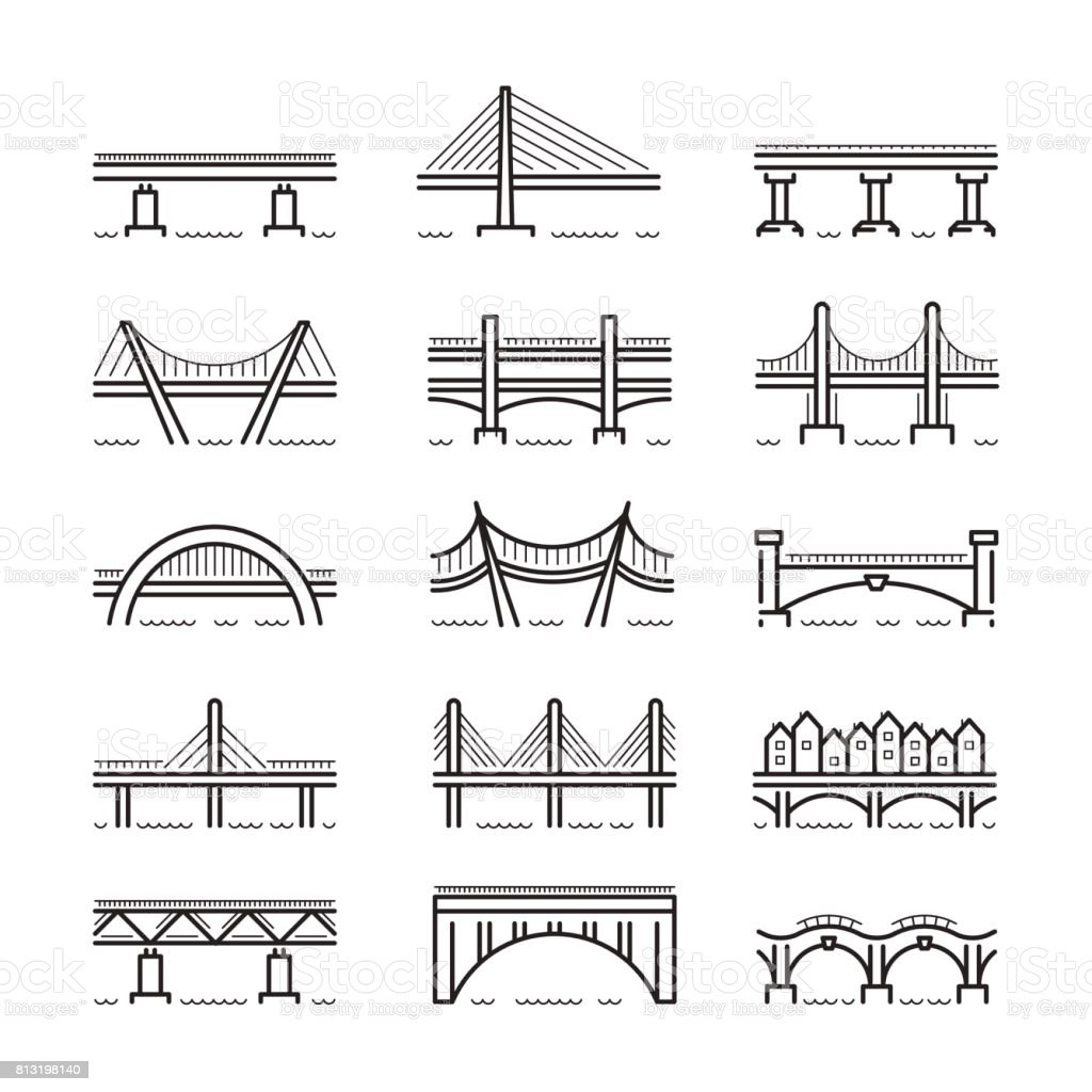 bridge line icon set vector vector art illustration