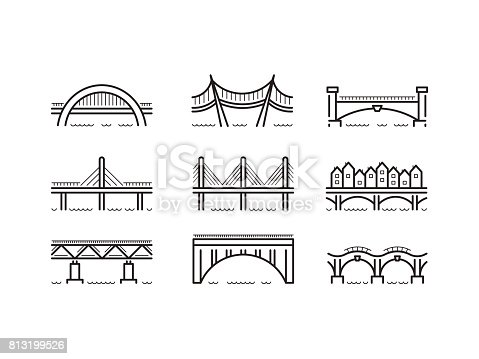 Set of linear icons bridges of different typologies and designs. Vector icons bridges in flat outline style isolated on white background.
