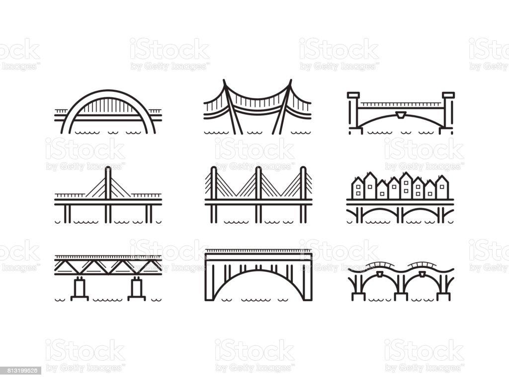 ícone de linha ponte conjunto vector - ilustração de arte em vetor