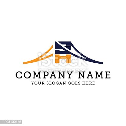 SH bridge logo design, business letter SH logo vector illustration