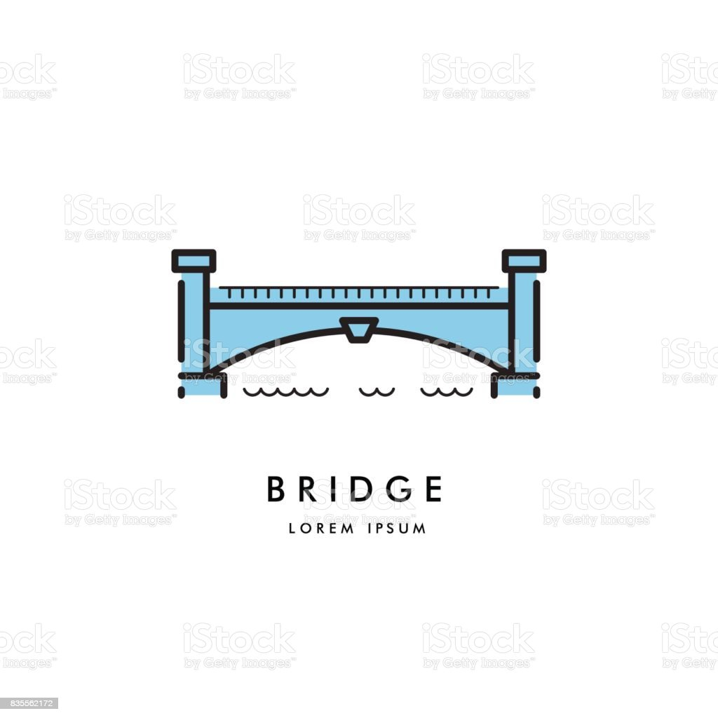 bridge outline icon vector vector art illustration