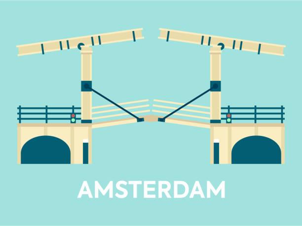 stockillustraties, clipart, cartoons en iconen met brug over amsterdamskanaal nederland - keizersgracht