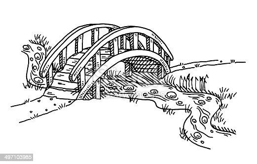 istock Bridge Over Creek Drawing 497103985