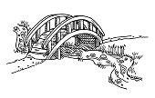 Bridge Over Creek Drawing