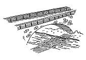 Bridge Over River Drawing