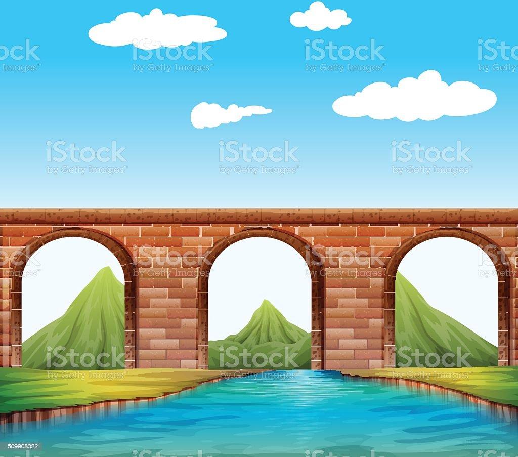 Bridge over the river vector art illustration
